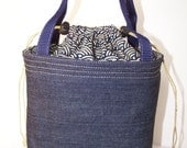 Lunch bag, Insulated Lunchbox, Lunch cooler, food Tote,Denim small purse, Drawstring Bag