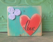 Sweet Mint and Coral Love Shelf Sitter Block, Small Wooden Block Shelf Sign, Love Home Decor Sign