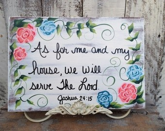 We Will Serve The Lord Sign, Home Decor Scripture Signs, Joshua 24:15 Sign, Floral Bible Verse Signs