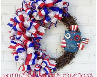 Patriotic Braided Poly Rope  Ribbon Grapevine Wreath