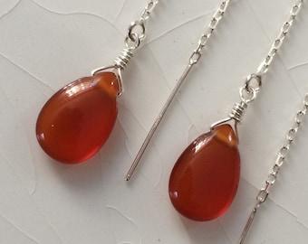 Ear Thread/Ear Threader Earrings: Smooth Carnelian Pear/Briolette Drops & Sterling Silver Dangle Earrings