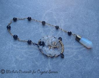 Black Moon Opalite and Moonstone Dowsing Pendulum (DP0283)