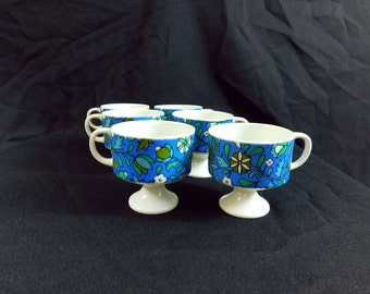 Vintage 60s mod blue & avocado green funky floral footed coffee /tea cups,set of 6 HH holt Howard 1968