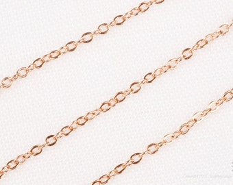 C100-GRG// Glossy Rose Gold Plated Small Cable Chain, 5M