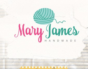 Yarn Logo Design, Knitting Shop Logo Branding, Yarn Logo Premade, Crochet Logo Design