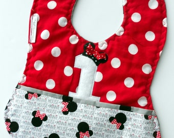 Baby Girl Custom 1st Birthday Minnie Bib, baby's first birthday, Minnie Mouse 1st birthday, Disney 1st birthday, Minnie Mouse Birthday Party
