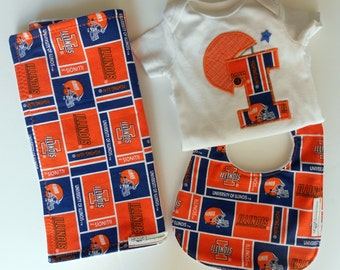 University of Illinois baby,U of I bib, burp cloth & Onesie set, Illinois baby gift, Illini baby shower,Fighting Illini, Illinois football