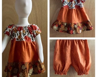 Fall Infant Peasant Dress and Bloomers, size 12 months