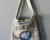 Vintage 100% Hemp Crossbody Feedsack Boho Purse With Lucky Elephant Design