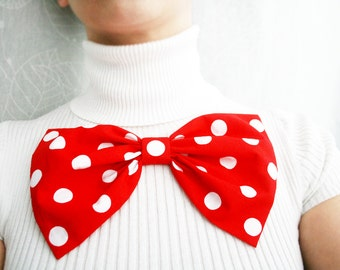 Oversized bow. Red bow brooch. polka dots bow. Classic bow. Girls bows brooch. red hair clip. Ready to ship. back to school. musfrooms