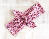Pastel pink with red cherry tie up headband Pin up Rockabilly Kawaii