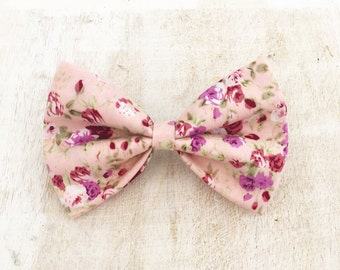"Cute vintage pink with lilac floral print 4"" Hair Bow Clip"