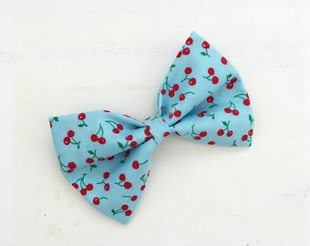 Sky blue with red cherry print hair bow on clip
