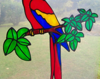 large red macaw parrot bird Suncatcher window sticker/decal stained glass style Sunshiner