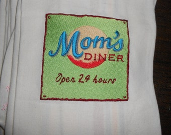 NEW kitchen Tea Towel embroidered with MOM'S DINER