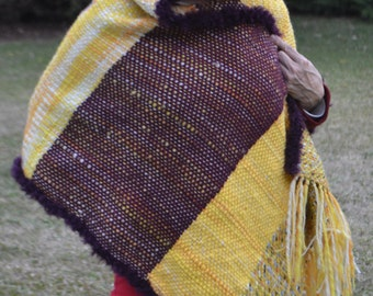 Stole/Hand woven Shawl /hand woven  Wrap / hand knit violet/ hand knit Poncho /women poncho/throw/yellow