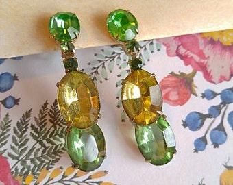 Vintage citrus rhinestone earrings screw back