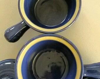 Vintage BLUE USA French Onion Soup Crocks / Chili Bowl Ramekins w/Lids Set (2)