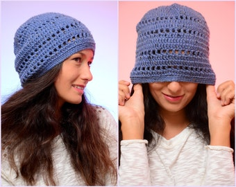 EXPRESS SHIPPING to US, Canada! Blue slouchy beanie hat, Chunky hat, Crochet winter hat, Merino wool hat, light blue jeans beanie hat