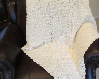 "Crocheted Throw Lapghan - Aran Afghan - Off White - Corner to Corner - 43""x43"