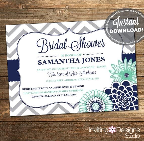 Items similar to chevron bridal shower invitation for Minted navy wedding invitations