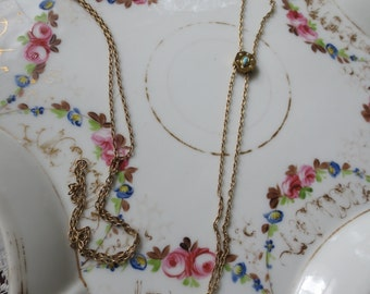 Dainty gold plated Victorian Style WATCH or Locket CHAIN with SLIDE