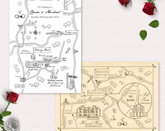 Custom Map Design - Wedding or Party Map | Travel Theme | Invitation Map | Wedding Directions | Printable | Digital File