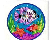ON SALE Very Rare Vintage Sandylion Under Sea Fish Coral and Starfish Prism Sticker - 80's Prismatic Starfish Koi Seaweed