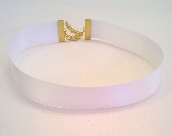 White 100% Silk Ribbon Choker - Double Face Satin Ribbon - Bridal, Wedding, Prom Choker Necklace