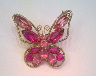 Dark Pink Rhinestone Butterfly Brooch - 1 1/2 Inch Wingspan - Vintage Goldtone and RS Brooch