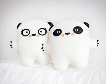 Bambak Mister Panda ...soft fleece toy, best friend, girlfriend gift, cute creature, kawaii plushie, personalized kids, panda bear, handmade