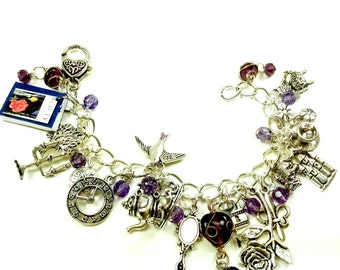 Beauty and the Beast Purple Cystal Fairytale Charm Bracelet