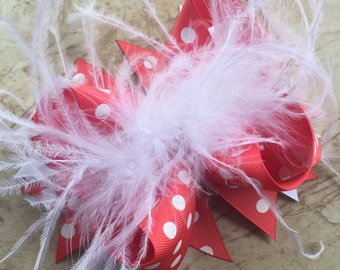 Coral and White Boutique Bow, Big Bow, Stacked Bow, Feather Bow, Coral Bow, Over the Top, OTT Bow, Baby Bow, Toddler Bow, Ostrich Puff