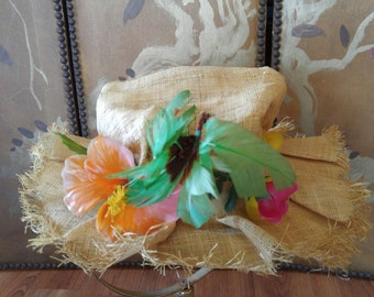 60s Hawaiian straw linen and plastic flower floppy hat by Eleele of Maui