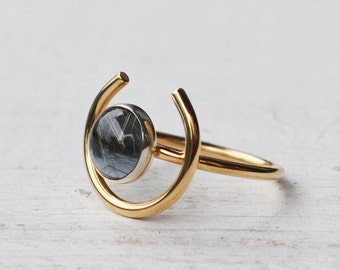 Rutilated Quartz Hematite Orb Ring, 14K Gold Ring, Round Gemstone Ring, Fine Jewelry, Gold Circle Ring, Grey & Gold Crescent Statement Ring