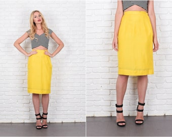 Bright Yellow Mod Skirt Pencil Straight High Waist XS 7941 vintage 70s skirt pencil skirt high waist skirt xs skirt yellow skirt