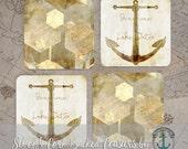 Coaster Set | Lake House   Sunshine & Lake Water, Gold Abstract Shapes Nautical Decor | Cork Back Non Slip | Options at Checkout