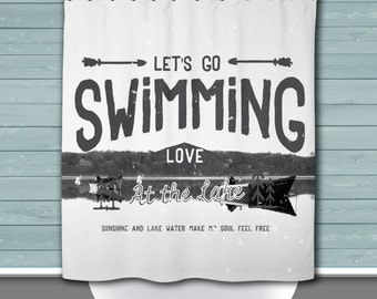 Lake Shower Curtain: Swimming at the Lake | Lake House Style | 12 Eyelet/Button Hole | Size and Pricing via Dropdown