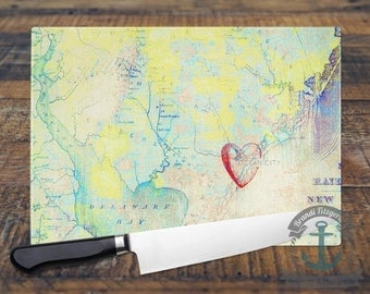 Glass Cutting Board - Ocean City NJ | City Map Beach House Decor | Small or Large Kitchen Art for Your Countertop