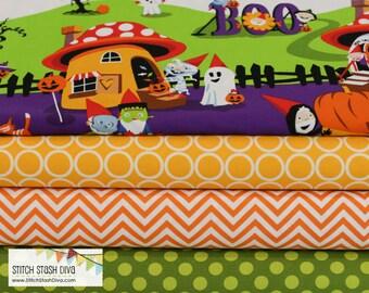 Halloween in Gnomeville Single Border Print Bundle - Choose Your Cut  (4 Fabrics)