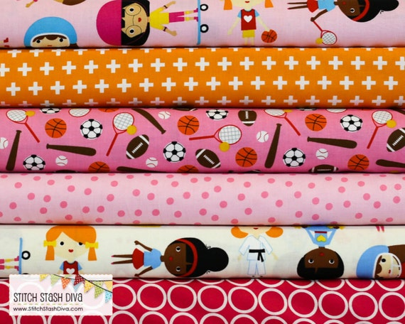 Pink sports kids bundle 6 fabrics total by stitchstashdiva for Childrens fabric bundles