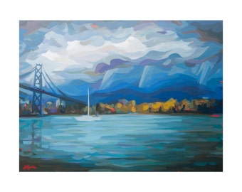 Art Print of Lionsgate Bridge in Vancouver by Canadian Artist Joanne Hastie