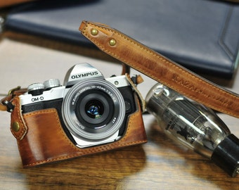 Cow leather case for Olympus O-MD E-M10 mark ii mark 2 include vintage brown leather half case and leather strap