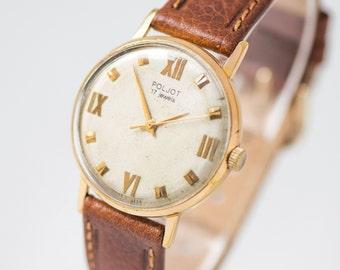 Elegant men's watch Poljot, gold plated AU 20 men watch, shock protected watch, dress watch, minimalist men watch, new premium leather strap