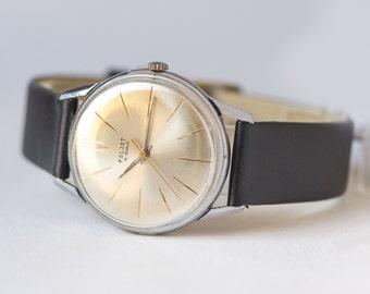 Masculine watch Poljot, black silver grey neutrals mens watch, dress watch, classic timepiece, tomboy style watch, new premium leather strap