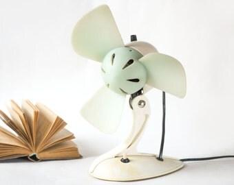 Vintage electric fan little, tabletop desk fan 70s, Soviet ventilator working, old skool fan vintage, white mint shades desk fan,1 speed fan