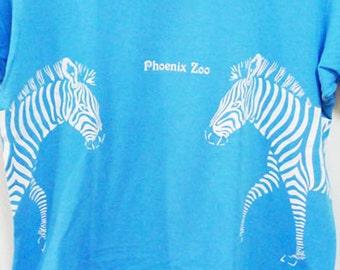 Vintage 80s Phoenix Zoo Zebra Blue Tshirt Back to Back Print