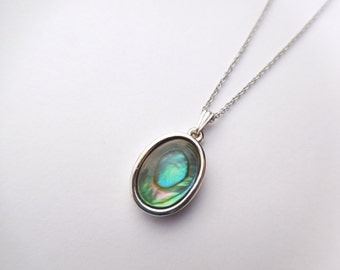 Vintage Whiting And Davis Silvertone and Abalone Shell Pendant Necklace Sterling Chain