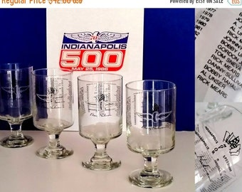 20% CIJ 80s Indy 500 Beer Glasses - Set of 4 Footed Glasses - All Winners Listed Ending with Rick Means in 1988