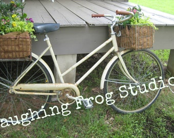 Stock Photo Digital Download - Vintage Bicycle with Spring Flowers Leaning Against Porch -